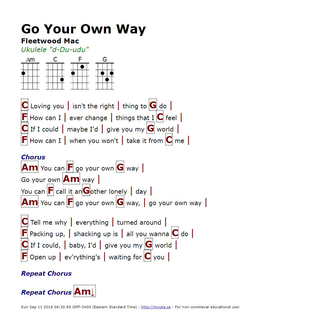 Go your own way fleetwood mac httpmyuke easy piano ukulele tabs hexwebz Choice Image