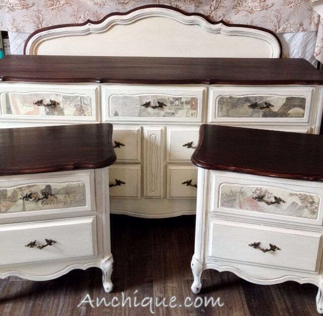 French provincial bedroom set dresser bedside tables for Headboard and dresser