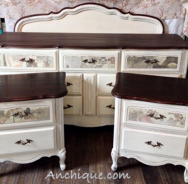 French Provincial Bedroom Set Dresser Bedside Tables
