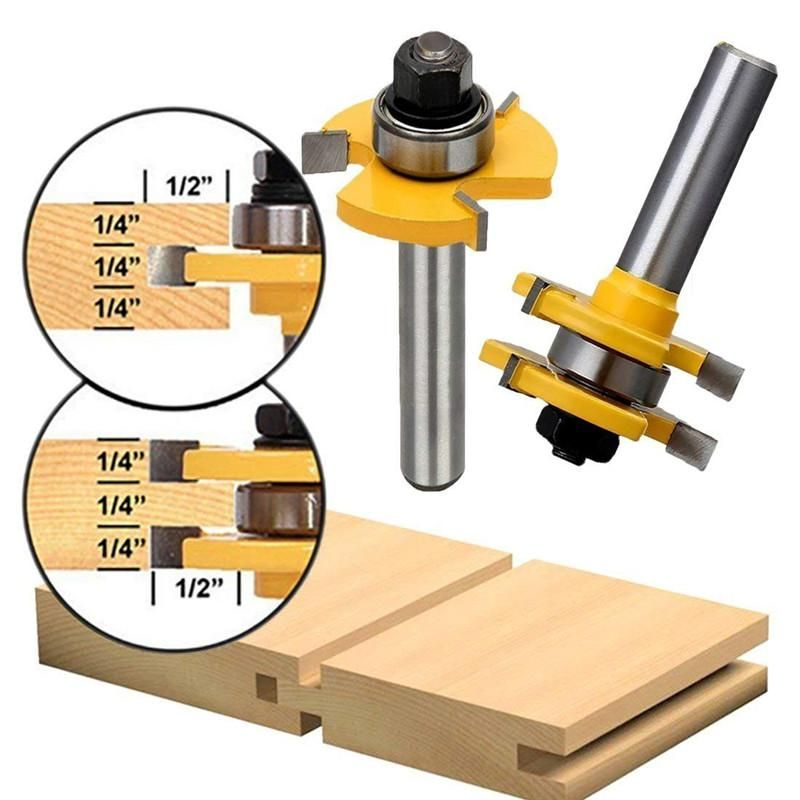 Tongue And Groove Set 1//4 Inch Shank Router Bit Set Wood Door Flooring 3 Teeth