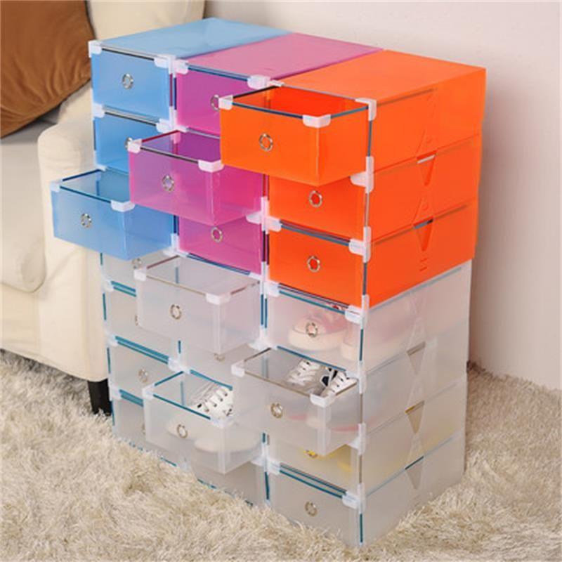 New5pcs Eco Friendly Shoe Storage Box Case Transparent Plastic Storage Box Rectangle Pp Shoe Organizer Thickene Plastic Box Storage Diy Storage Plastic Storage