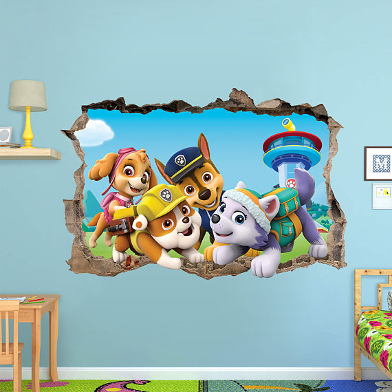 paw patrol 3d wall sticker smashed bedroom decor vinyl removable art decal removable mural for. Black Bedroom Furniture Sets. Home Design Ideas