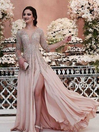 Luxury Champagne Abendkleider Lang Chiffon Bodenlang ...