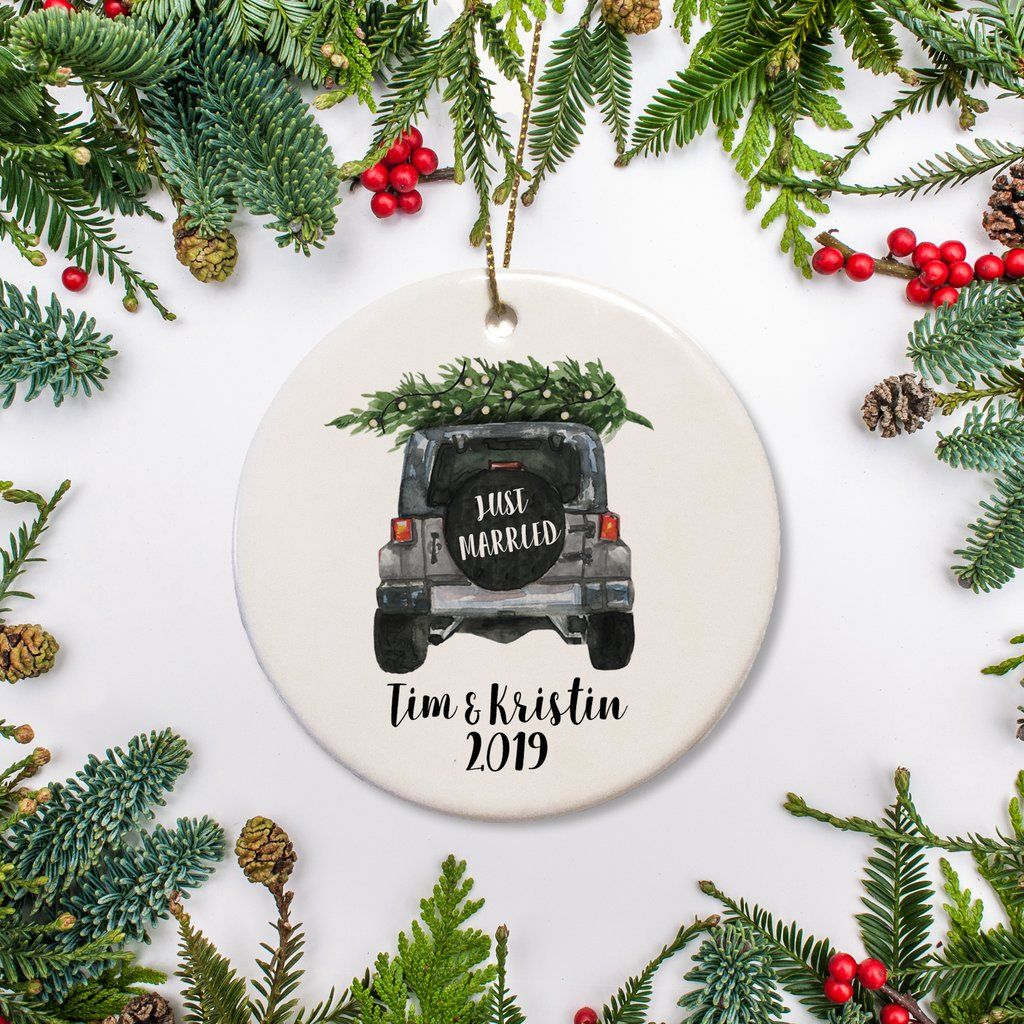 Glass Christmas Tree First Wedding Just Married Car Bauble Decoration