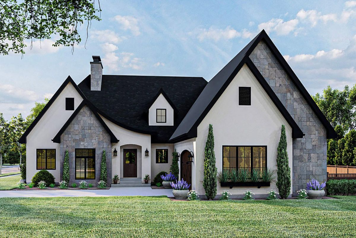 Plan 62914dj 3 Bed Modern Cottage House Plan With Large Rear Covered Patio Cottage House Plans Modern Cottage Cottage Style Homes