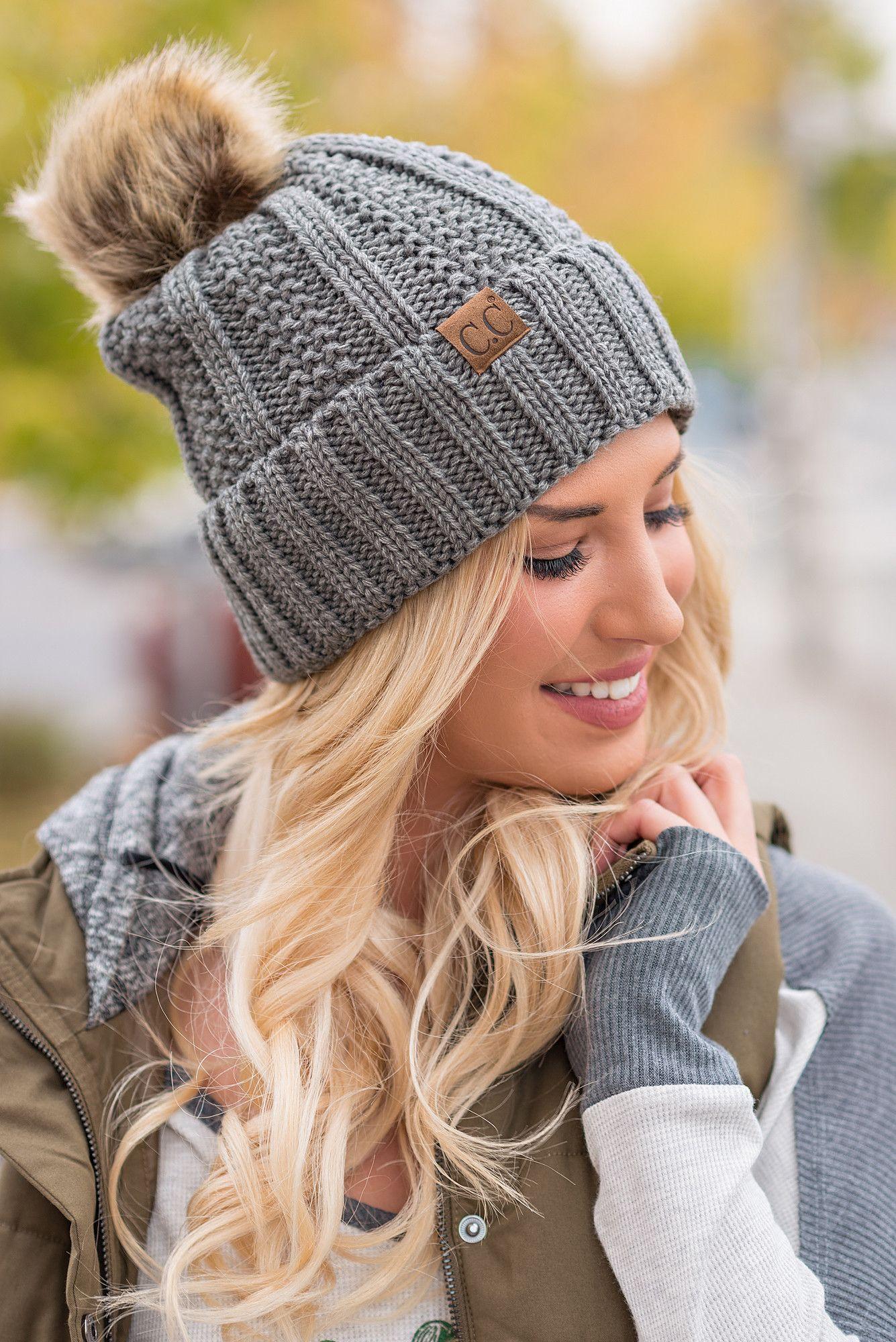 cc knit blanket lined fur pom pom beanie (melange grey) | fur pom