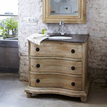 Meuble avec simple vasque en pin 90 Hermione Pine, Sinks and Vanities - Renovation Meuble En Chene