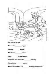 English Worksheets: Pinocchio colouring fill in with is