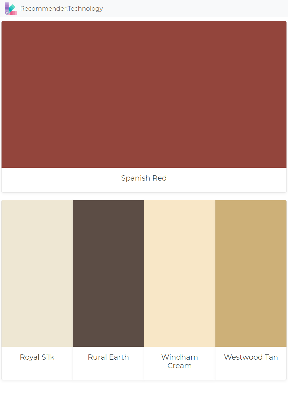 Spanish Red Royal Silk Rural Earth Windham Cream Westwood Tan Paint Color