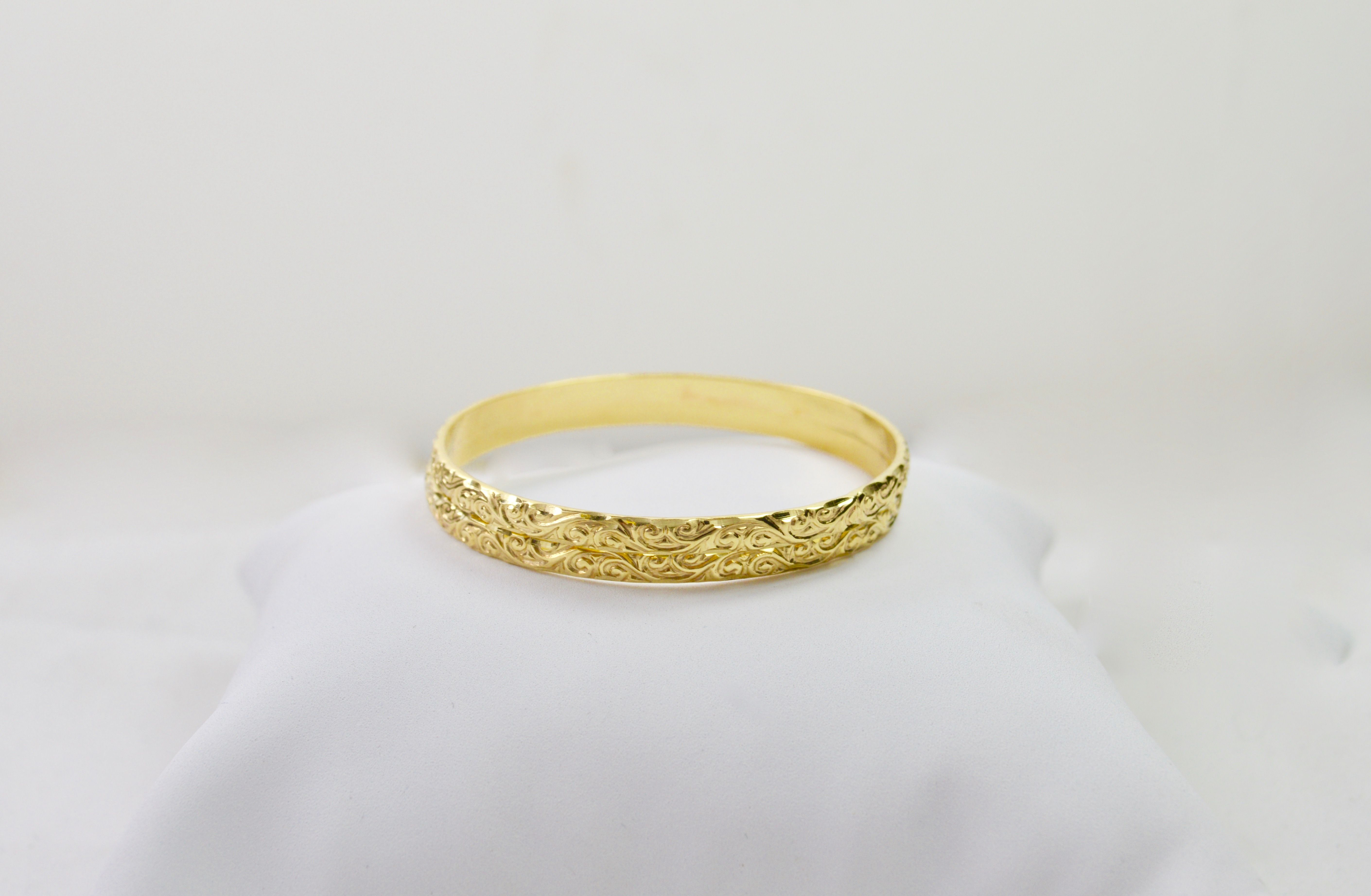 set of 2, 14k yellow solid gold baby bangle bracelets moroccan ...