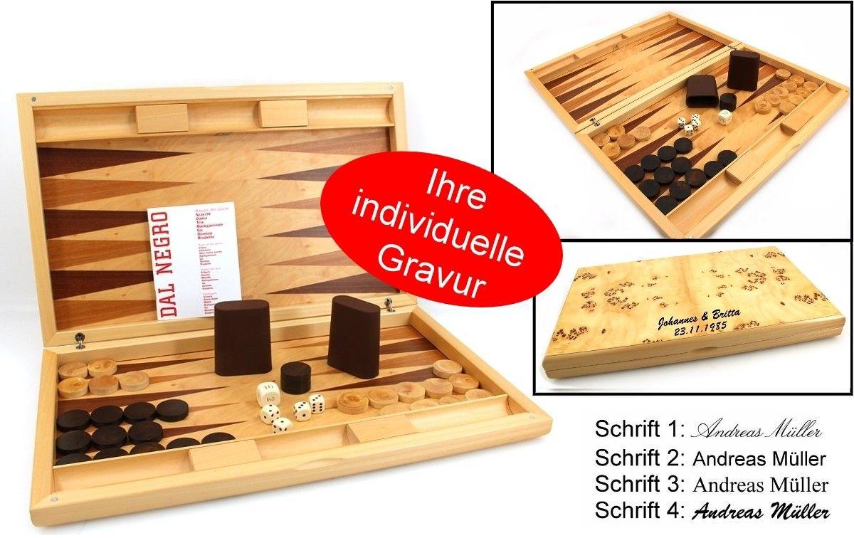 Dal Negro Aspen, imposantes Backgammon mit individueller Gravur, Geschenk - Idee Ein absoluter Eye-Catcher ist das Aspen Backgammon, dass von Dal Negro, einem der Top Backgammon-Hersteller Europas produziert wurde. Auffällig ist die ungewöhnliche Optik aus Pappel-Wurzelholz.