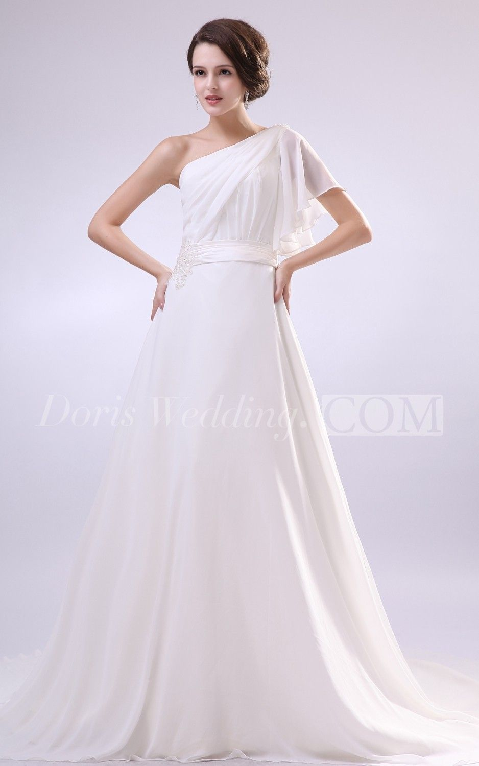Beaautiful Cap Sleeves Wedding Dress with Beaded Sash and One Sleeve #DorisWedding #beautiful #wedding #dresses #affordable #wedding #dresses #wedding #dress #styles #unique #wedding #dresses #backless #wedding #dresses