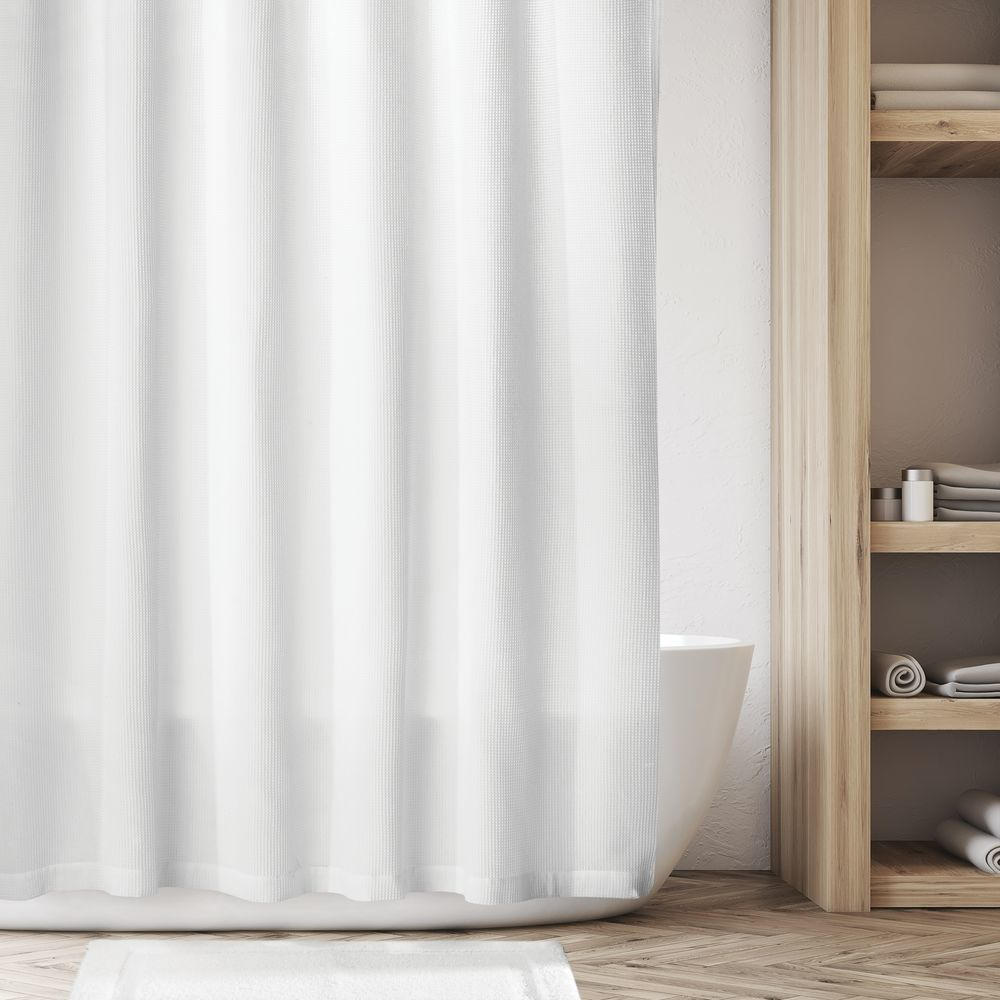 Mdesign Extra Long Waffle Weave Cotton Shower Curtain In Linen 72 X 96 In 2020 Cool Shower Curtains Cotton Shower Curtain Fabric Shower Curtains