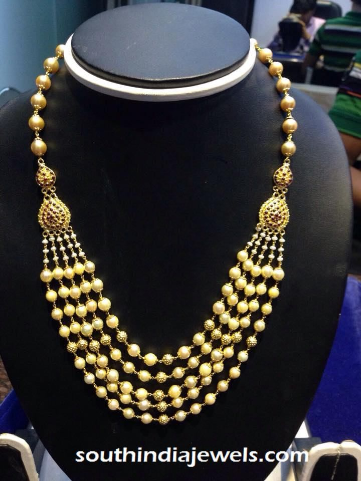 Gold Multilayer Pearl Necklace | Pearl necklace designs, Gold ...