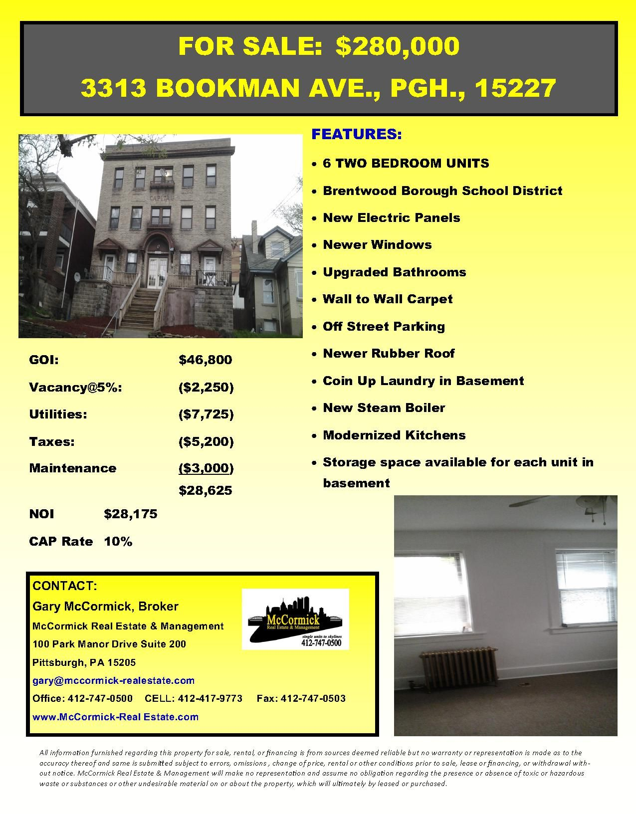 3313 Bookman Avenue Pittsburgh Pa Www Mccormick Realestate Com Brentwood For Sale 6 Unit Apartmen Commercial Property Bathroom Upgrades Property Brochures