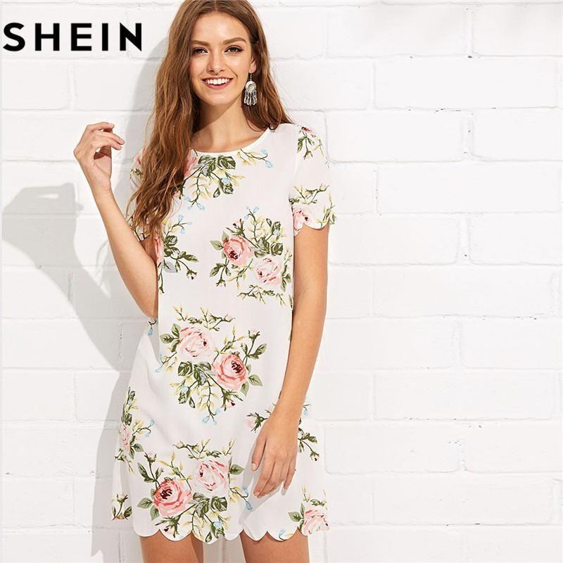 7bec33f8ce Summer Straight Short Sleeve Floral Print Casual Mini Dresses 2018 Women  Preppy Scalloped Edge Botanical Print Short Dress
