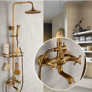 Vintage Brass Bathroom Outdoor Shower Faucets With Shelves Shower Faucet Sets Shower Fixtures Shower Faucet