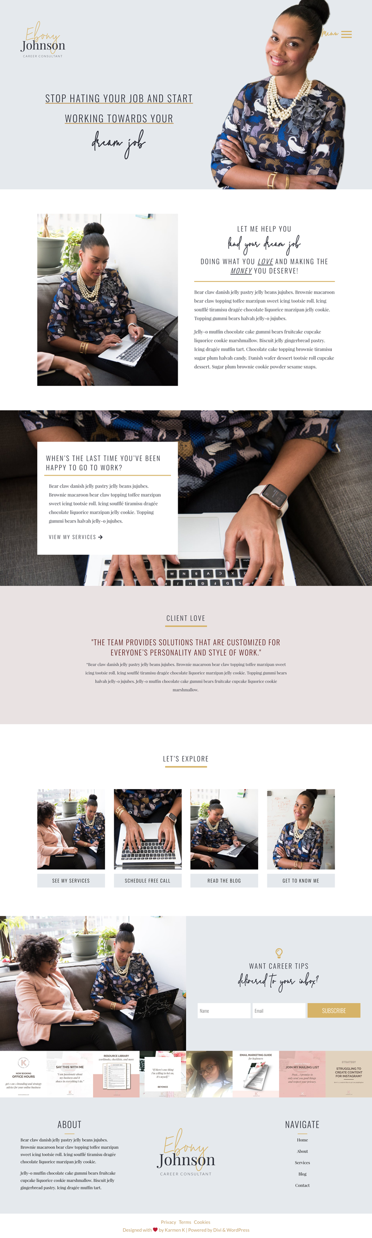 ebony is a ready made diy website template for creative