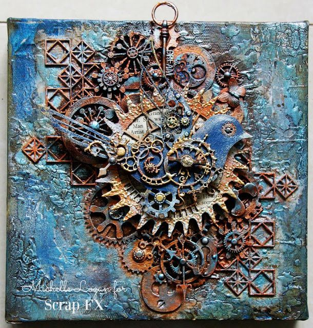 A Steampunk Canvas (ML Design: Ink, Paint, Stamp & Paper) | Cuadros ...
