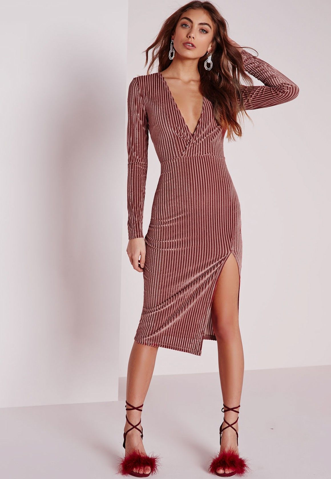Striped velvet long sleeve wrap midi dress rose pinterest