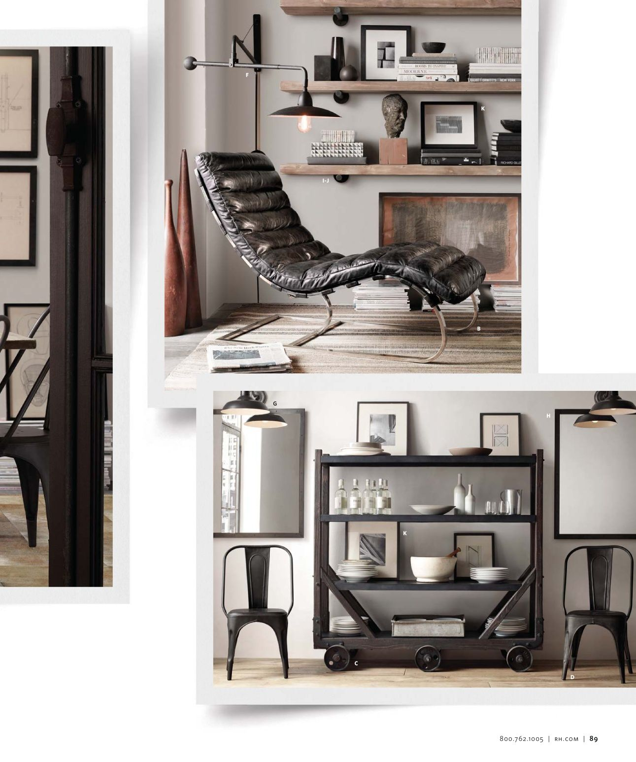 Chaise shelves small spaces catalog restoration hardware