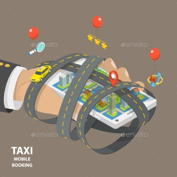 Mobile Taxi Booking Flat Isometric Low Poly Vector Isometric