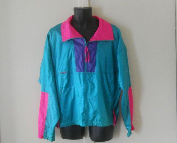 Neon Windbreaker / 80s Windbreaker Jacket / Retro 90s Jacket ...