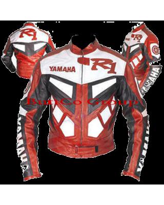 Yamaha R1 Red Cowhide Leather Motorcycle Motorbike Biker Jacket