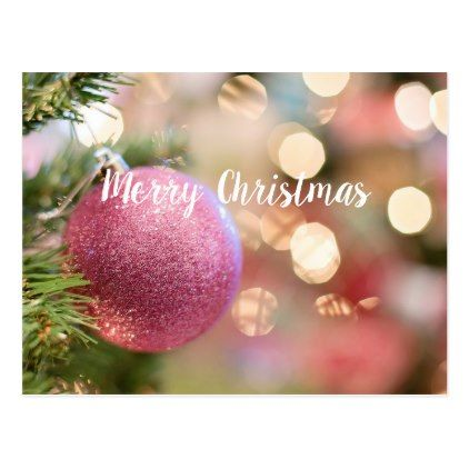 Pretty Christmas in Pink Postcard - christmas cards merry xmas diy ...