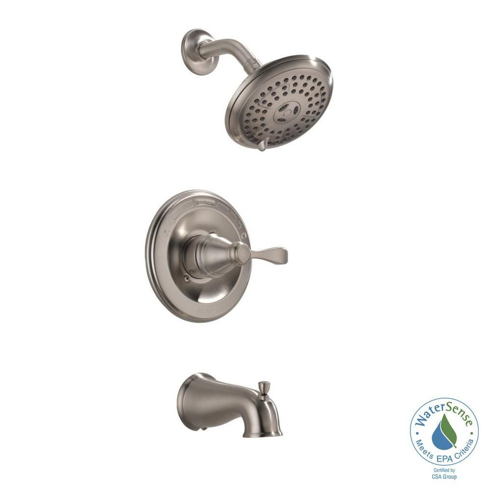 Delta Porter Single Handle 3 Spray Tub And Shower Faucet In Brushed Nickel Valve Included 144984c Bn A Tub Shower Faucets Shower Faucet Shower Tub