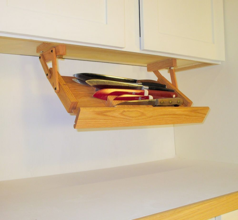 Under cabinet knife rack by ultimate kitchen storage Kitchen under cabinet storage ideas