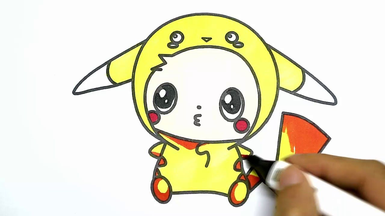 Drawing For Kids Easy |How To Draw Baby Pikachu |Coloring Pikachu |Drawi.