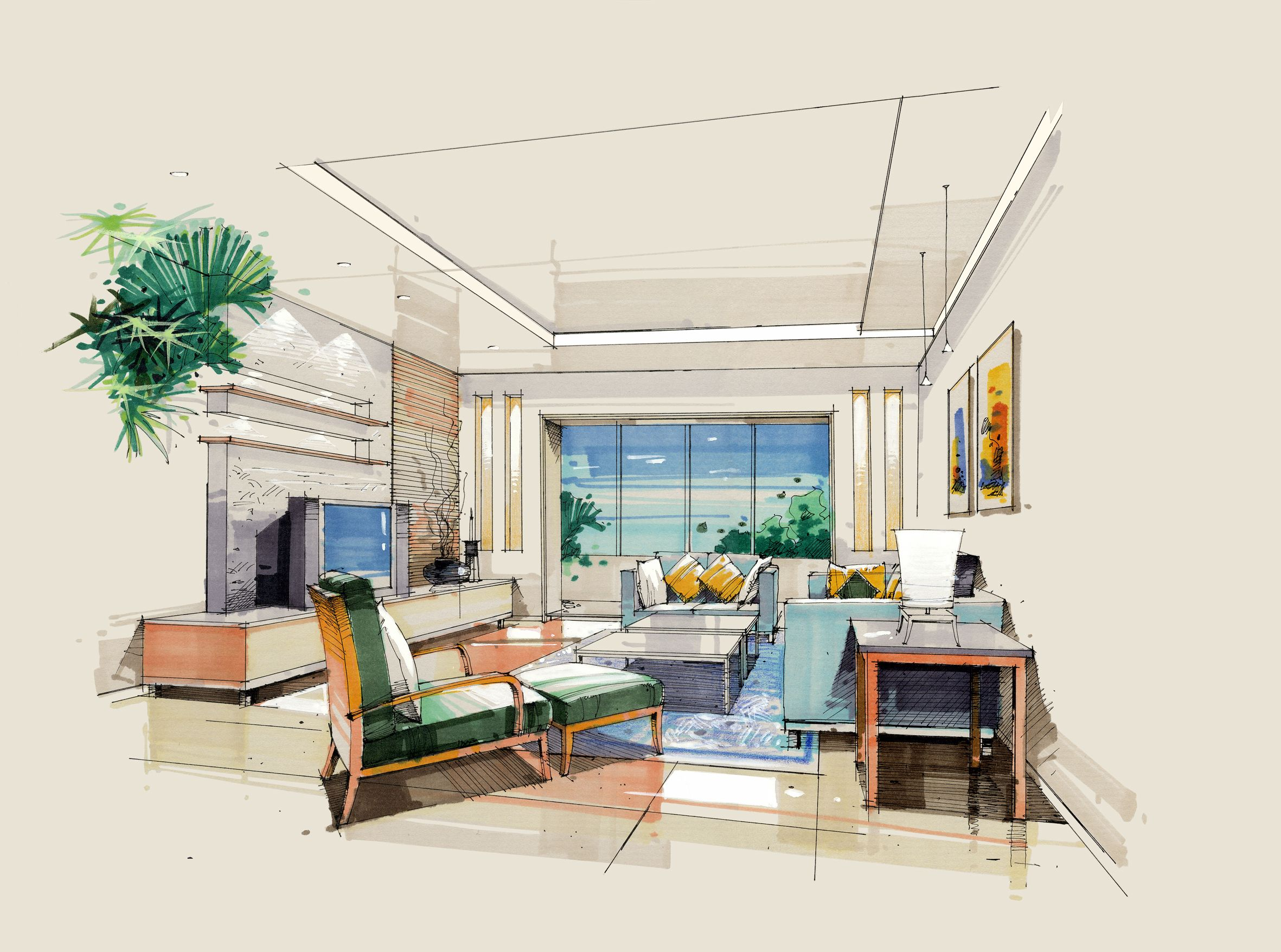 Interior Design Illustration Interior Design Renderings