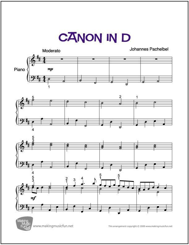 Canon in D | Easy/Intermediate Piano Sheet Music (Digital Print ...