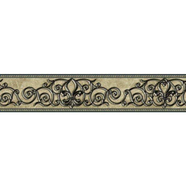 Fleur De Lis Scroll Black Wrought Iron Peel And Stick Wallpaper