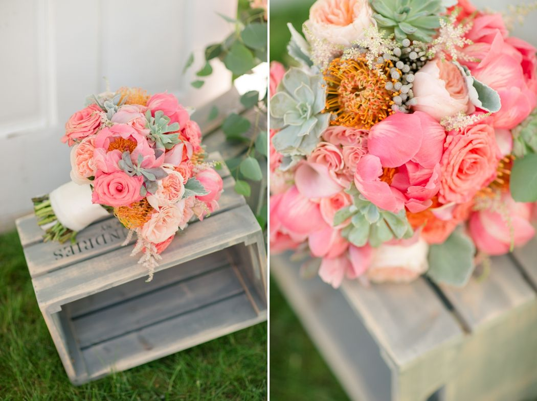 coral pink peach brides bouquet peony | Fairy tales | Pinterest ...