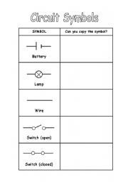 English worksheet: Circuit Symbols | Science co-op | Pinterest ...
