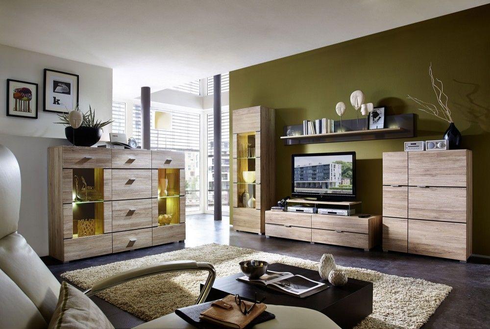 Wohnwand mit Highboard San Remo Eiche hell mit Beleuchtung - wohnzimmerschrank eiche hell