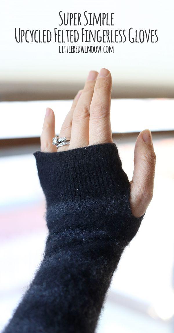 Super Simple Upcycled Felted Fingerless Gloves | Pulswärmer ...
