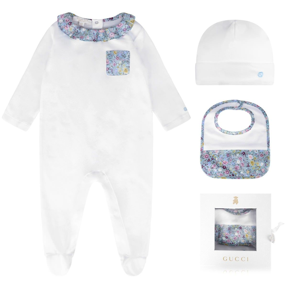 e14956afeb2a9 GUCCI Baby Girls White Floral 3 Piece Gift Set - Baby