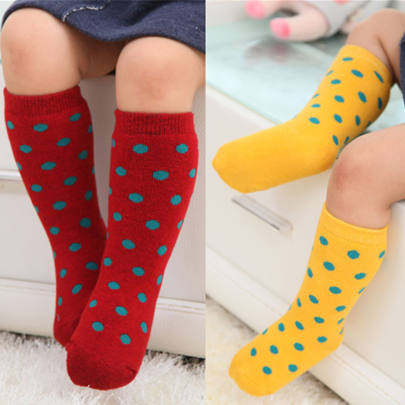 Terry Winter Kids Socks For Infant Girl Boy Cute Dots Baby Knee High