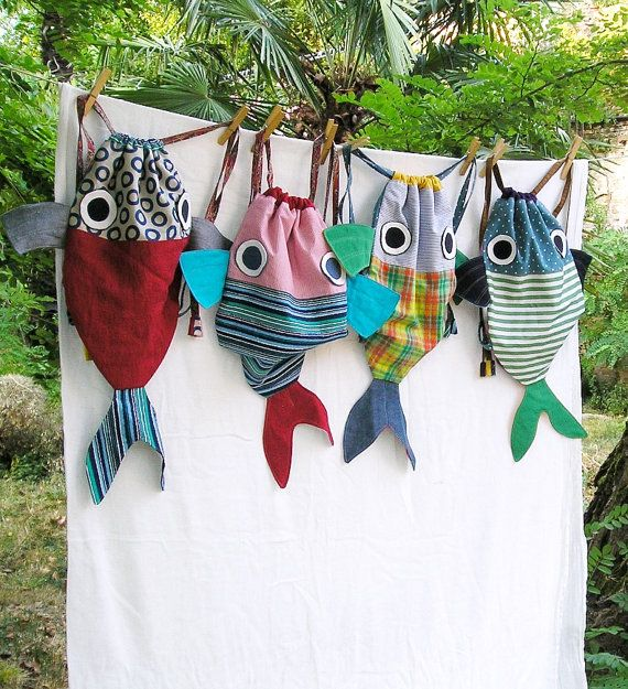 Along with my Fish friend - Drawstring backpack for children ...