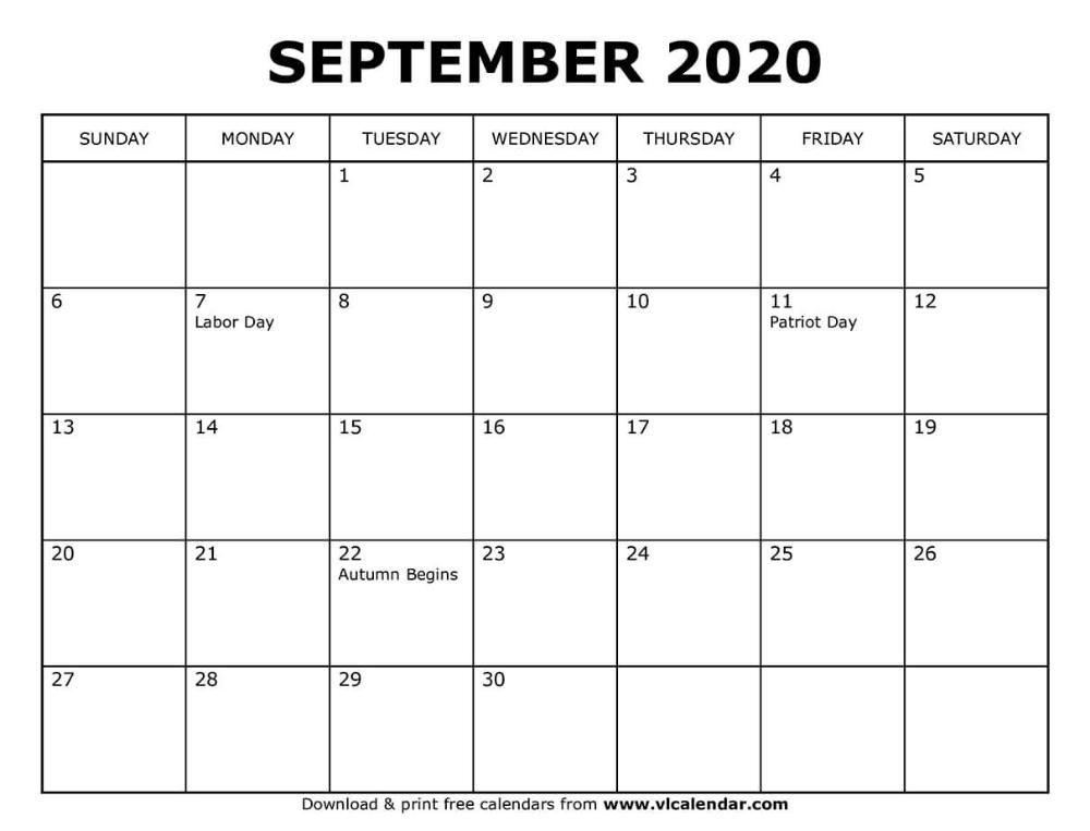 Printable September 2020 Calendar in 2020 Free calendars