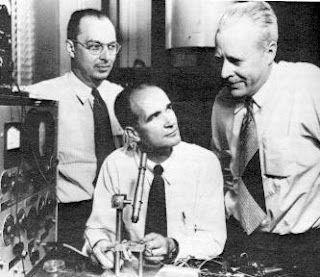 "John Bardeen, William Shockley and Walter Brattain. ""Bipolar Transistor"", 1947 (aged 39, 37 and 45)."