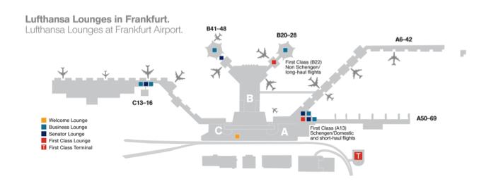 map of lufthansa lounges frankfurt airport lufthansa pinterest frankfurt baggage claim. Black Bedroom Furniture Sets. Home Design Ideas