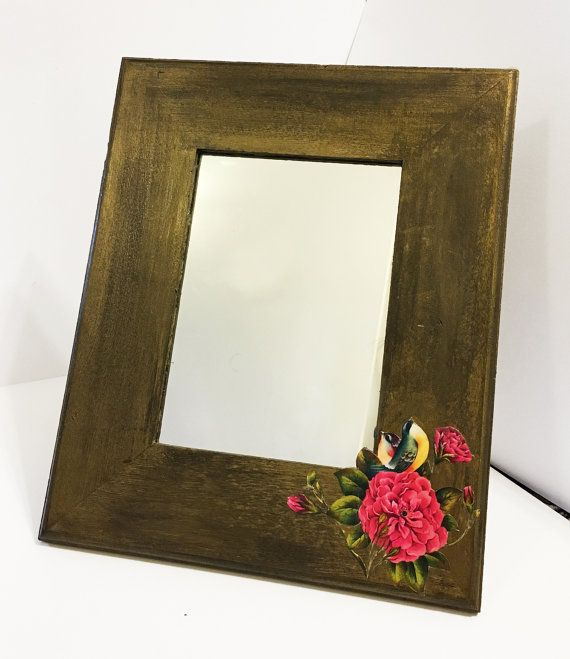 ALANGOO - Hand-Painted Rose Mirror/Frame