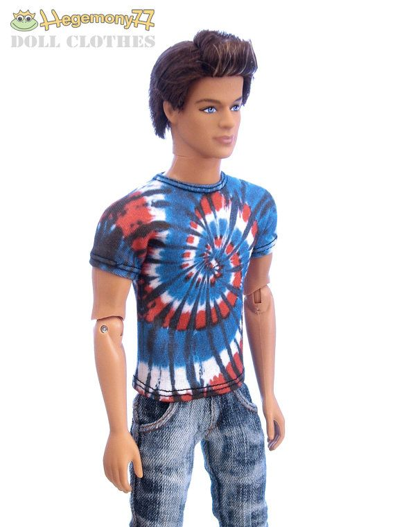 Tie dye swirl T shirt with colors of the USA flag - blue white and red for Taeyang, Ken, 27 cm male Obitsu size 1/6 scale 11 12 inch fashion dolls, action figure.