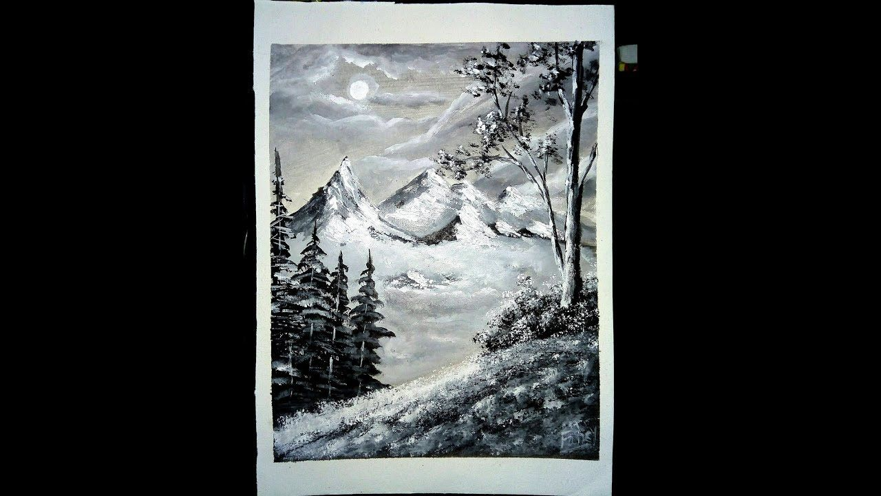 Acrylic Painting Tutorial Black White Easy Landscape A Beautiful Acrylic Painting Tutorials Painting Tutorial Simple Acrylic Paintings