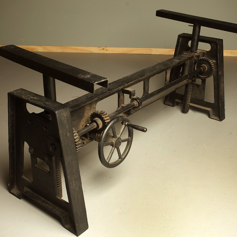 Cast Iron Adjustable Height Crank Table Basement