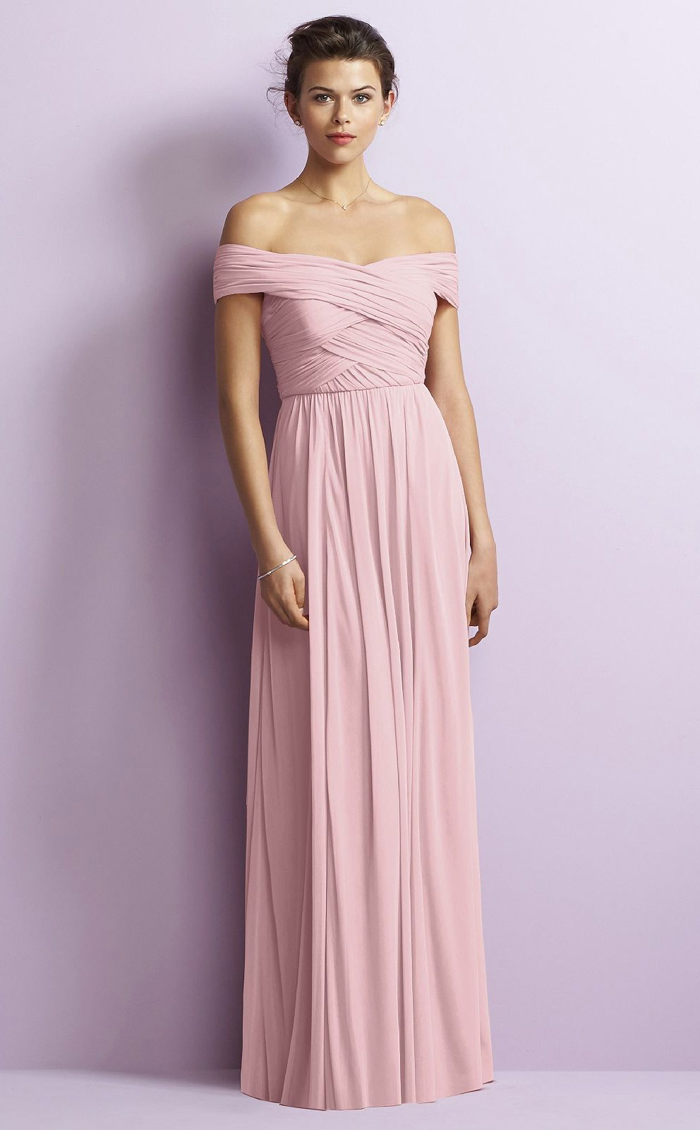 Floor-length Off The Shoulder A-line Pink Chiffon Bridesmaid Dresses ...